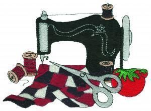 Sewing quilter pattern stained. Quilting clipart embroidery machine