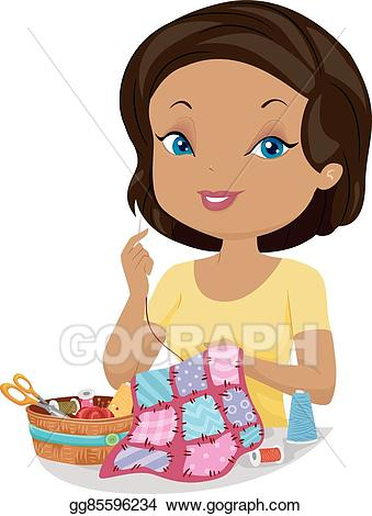 Vector stock girl sew. Quilting clipart hand sewing