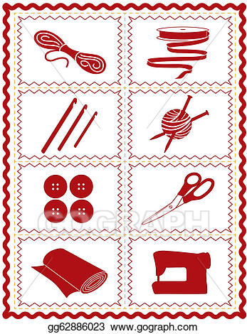 Quilting clipart knitting sewing. Eps illustration knit crochet