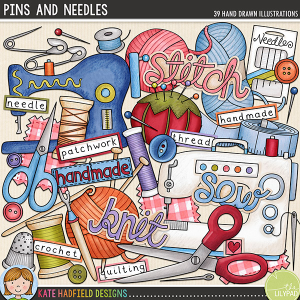 Quilting clipart knitting sewing. Pins and needles