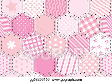 Vector patchwork quilt illustration. Quilting clipart pink