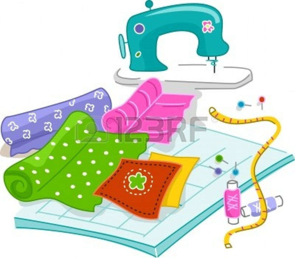 Sewing clipart useful material. Stock illustration little bits