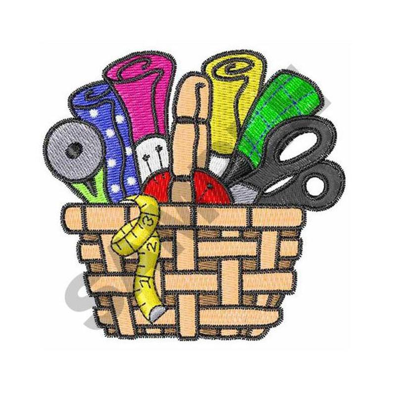 Embroidery design machine . Quilting clipart sewing basket