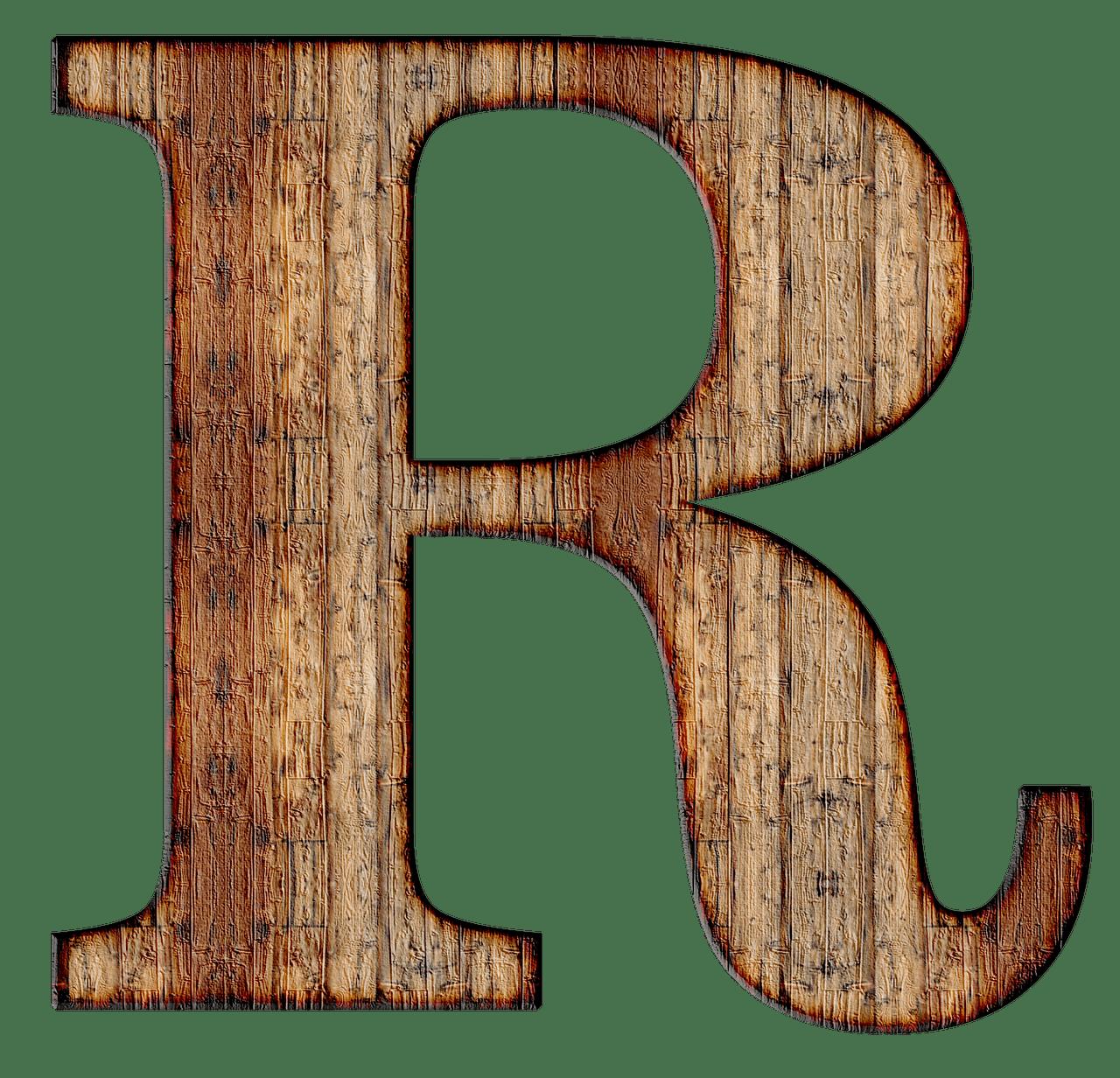 R clipart alphabet r. Wooden capital letter transparent