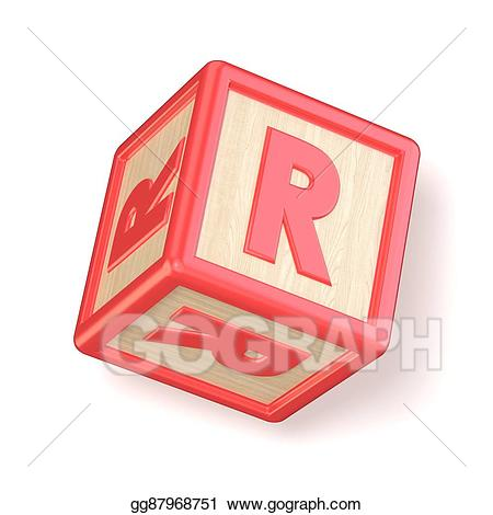 Stock illustration wooden alphabet. R clipart block letter