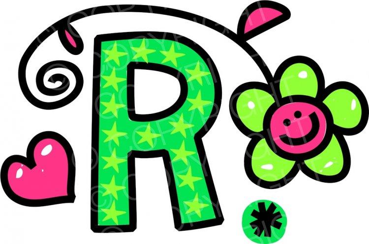 R clipart cartoon. Whimsical alphabet letter prawny