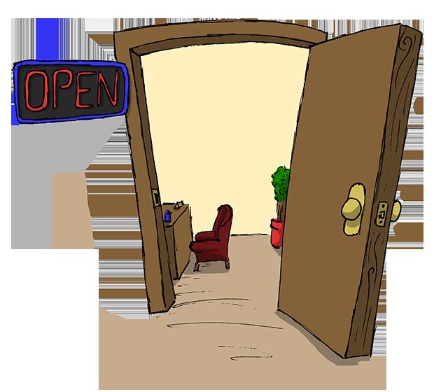 R clipart cartoon. Open door transparent students