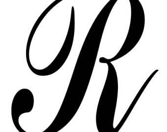 R clipart cursive r. Script letter etsy