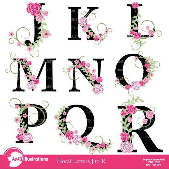 R clipart fonts. Floral letter j to