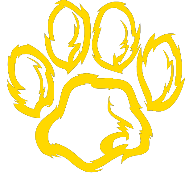 Wildcat paw golden clip. R clipart gold