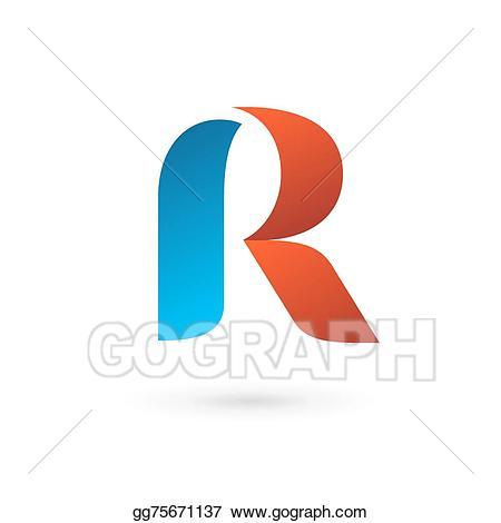 R clipart icon. Vector illustration letter logo