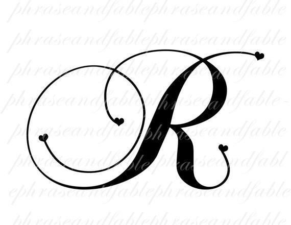 Letter hearts digital download. R clipart initial