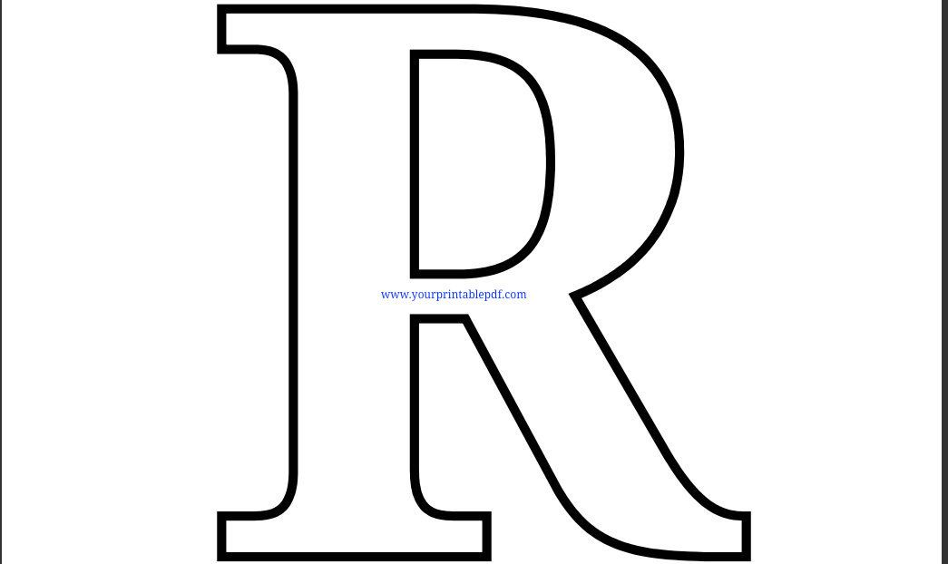 Printable pdf coloring page. R clipart large letter