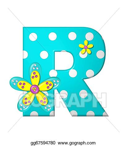 Alphabet dotted dania stock. R clipart large letter