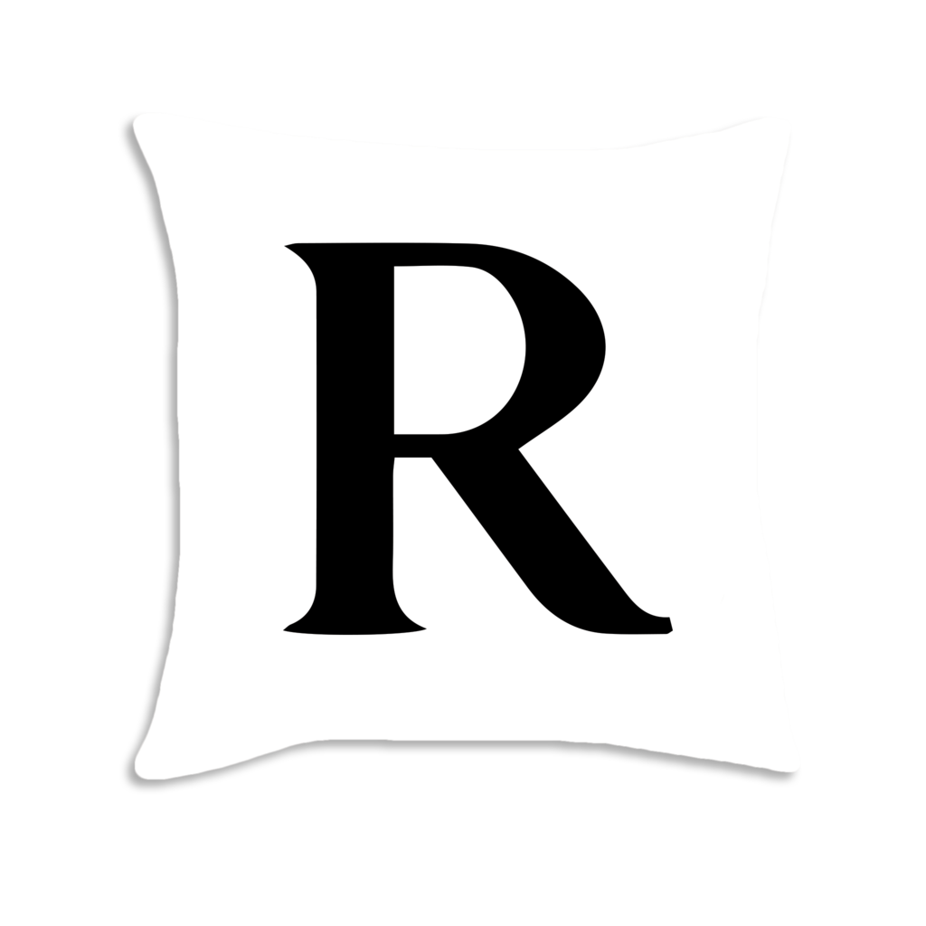 Serif font decorative throw. R clipart letter number