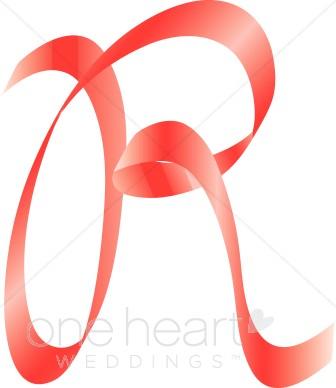 R clipart letter number. Pink ribbon alphabet