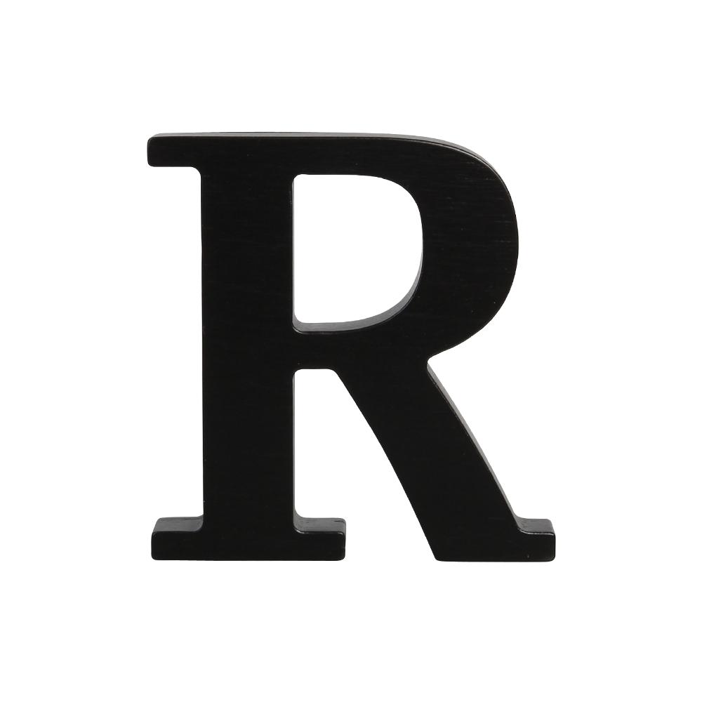 Wooden black . R clipart letter number
