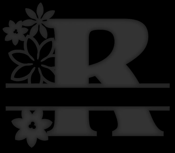 Flower split snapdragon snippets. R clipart monogram