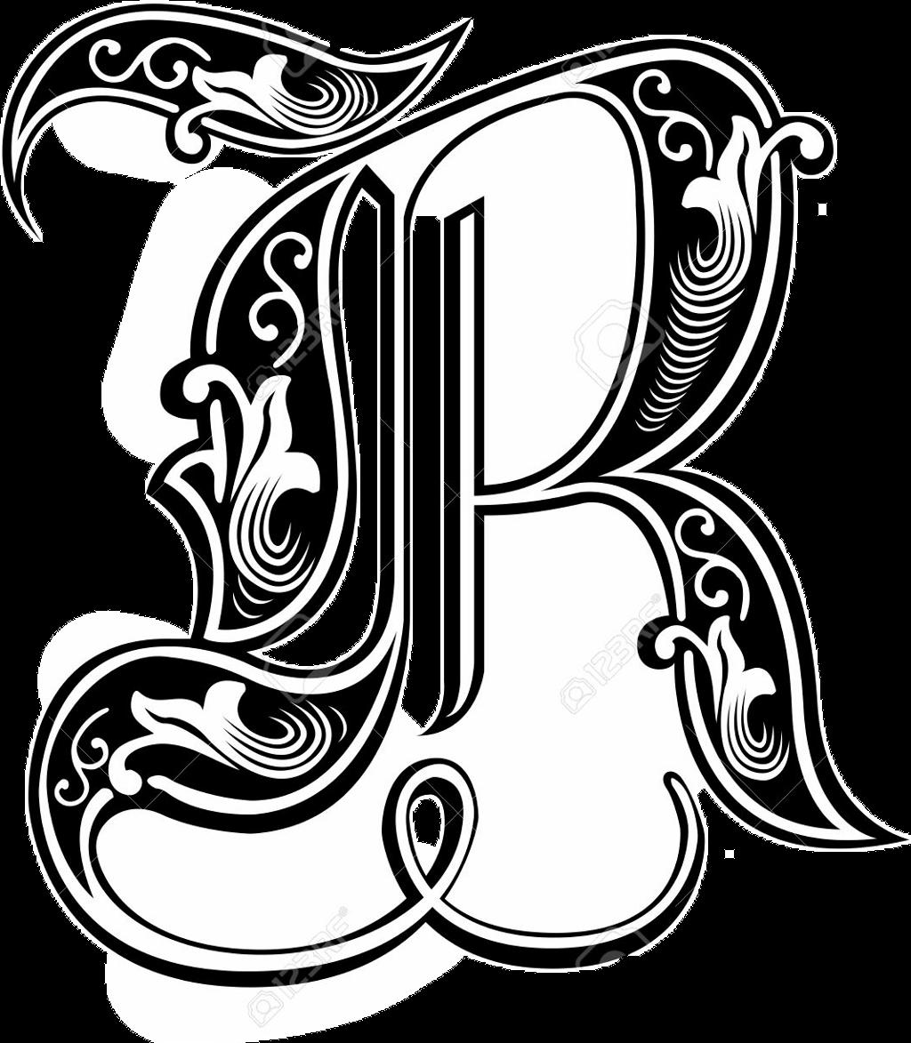 Tattoo alphabet bw sticker. R clipart picsart