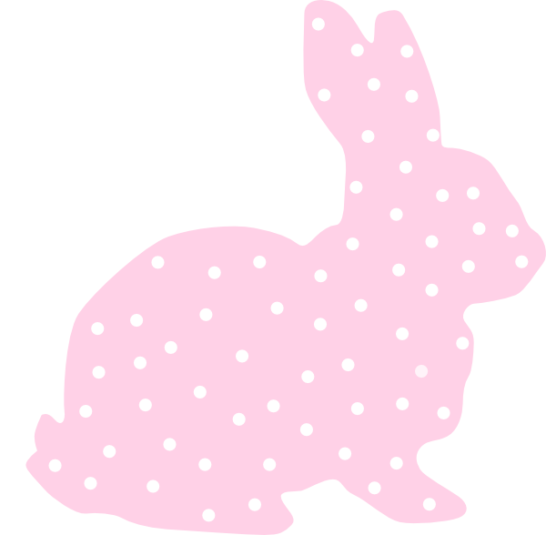 Pink bunny silhouette clip. R clipart polka dot