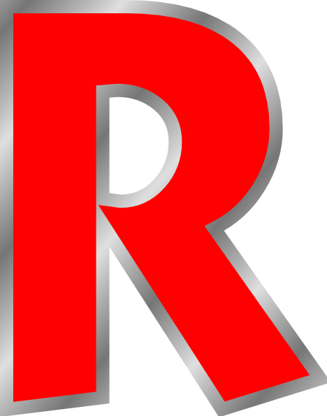 R clipart red. Uppercase clip art at