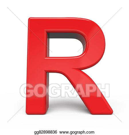 R clipart red letter. Stock illustration d glossy