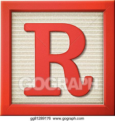 Vector stock d block. R clipart red letter
