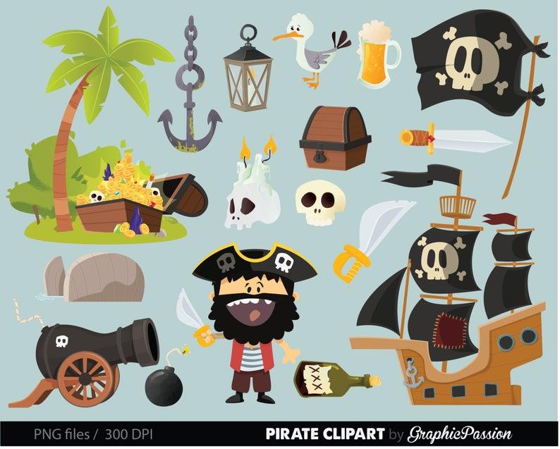Pirate ship nautical anchor. Treasure clipart clip art