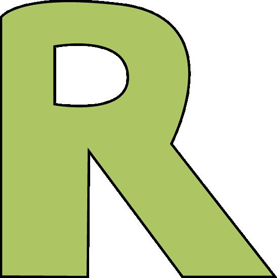 R clipart. Green letter clip art