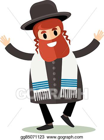 Rabbi clipart. Vector art jew flat