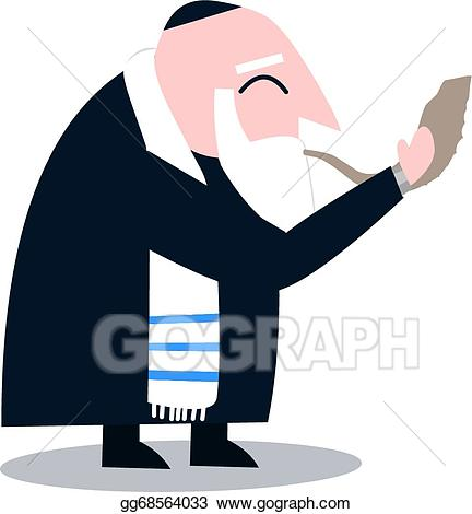 Vector stock with talit. Rabbi clipart animated