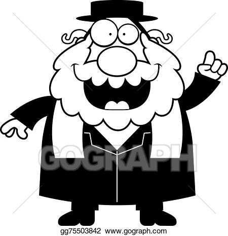 Rabbi clipart black and white. Vector art cartoon idea