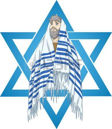 Stock vector chanukah illustration. Rabbi clipart tallis