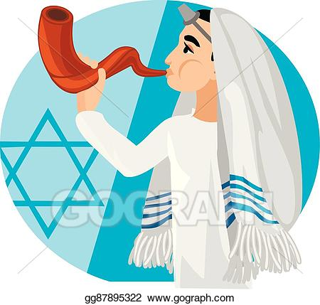 Vector jew hassid with. Rabbi clipart tallit