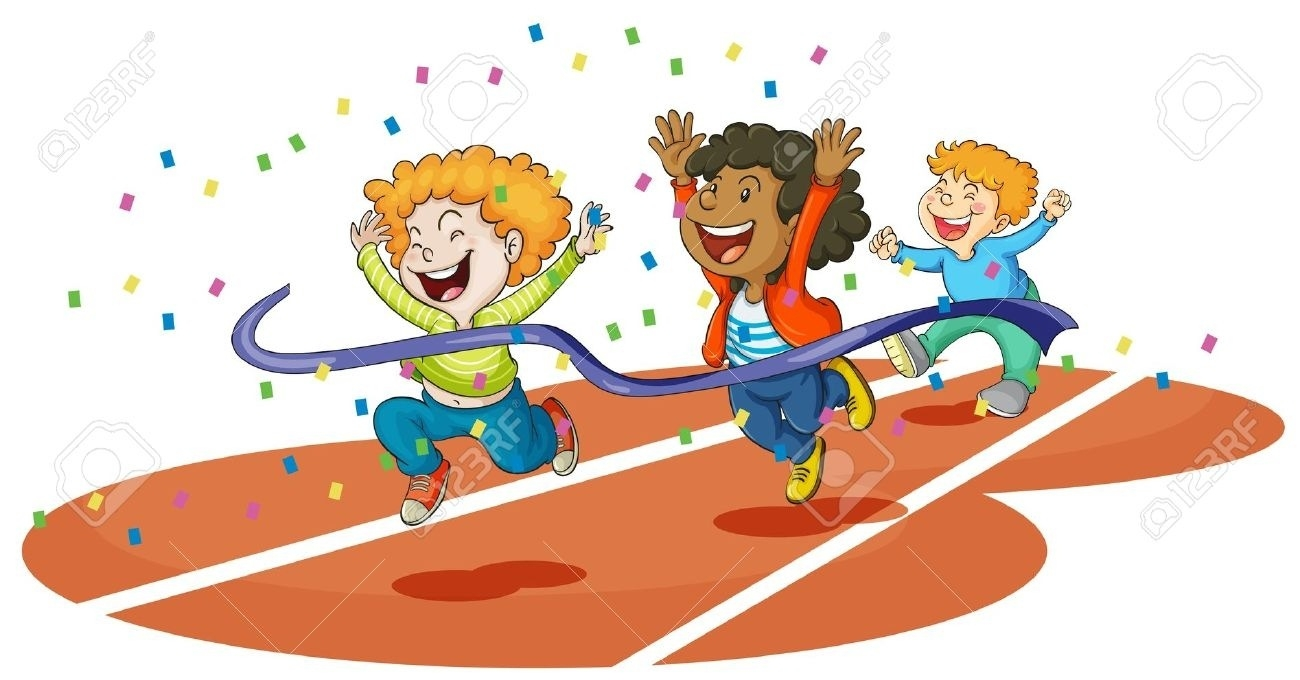 Race clipart. Kids running a letters