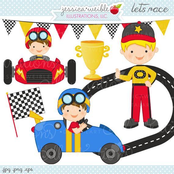 Lets cute digital commercial. Race clipart boys