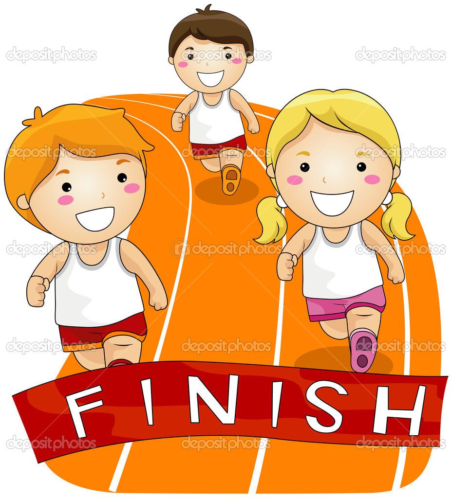 Kids running bay . Race clipart clip art