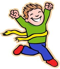The end for kids. Race clipart confident child