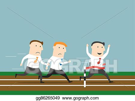 Vector businessman is winning. Race clipart first place