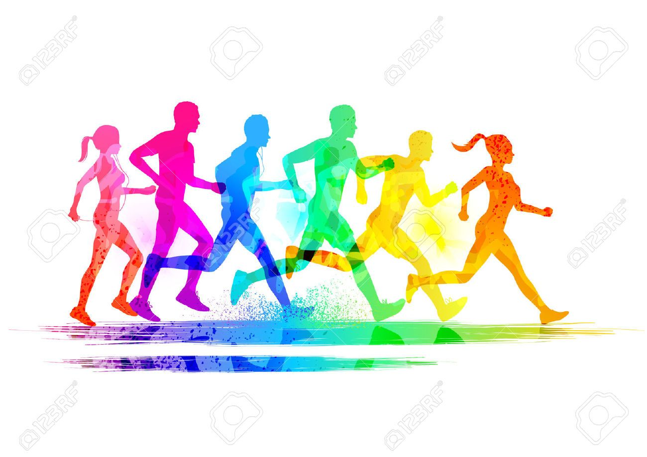Runners stock photos images. Race clipart group runner