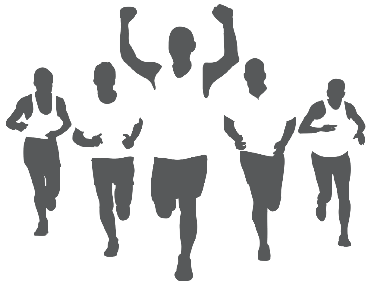 Race clipart group runner. Wall decal marathon running