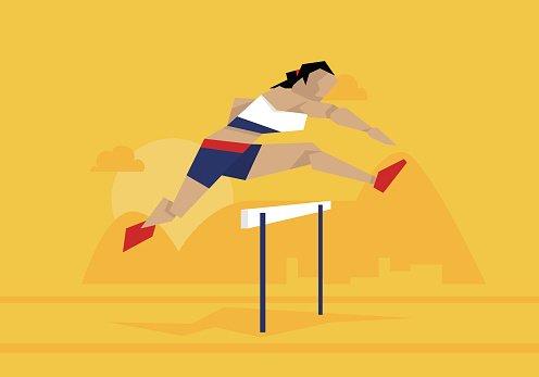 Illustration of female athlete. Race clipart hurdler