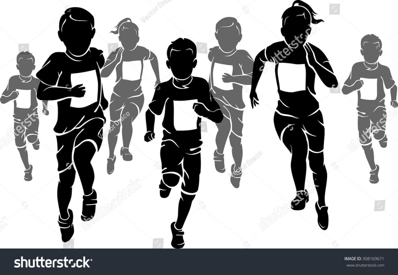 Race clipart kid marathon. Running with kids black