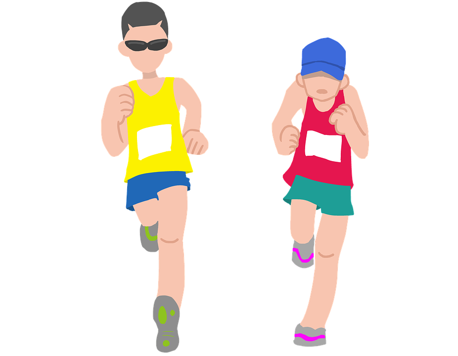 The correct way to. Race clipart mile run