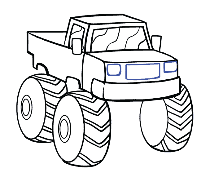 Trucks drawing at getdrawings. Race clipart monster truck tire