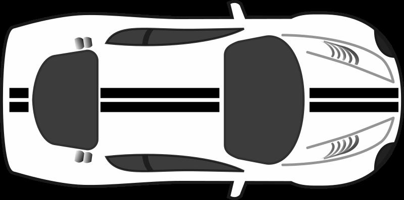 Car top view medium. Race clipart racing stripes