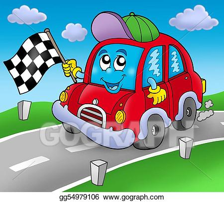 Drawing car on road. Race clipart starter