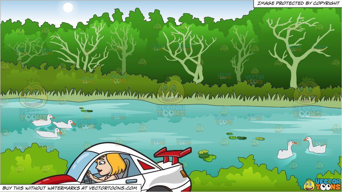 Cartoon a woman driving. Race clipart summer