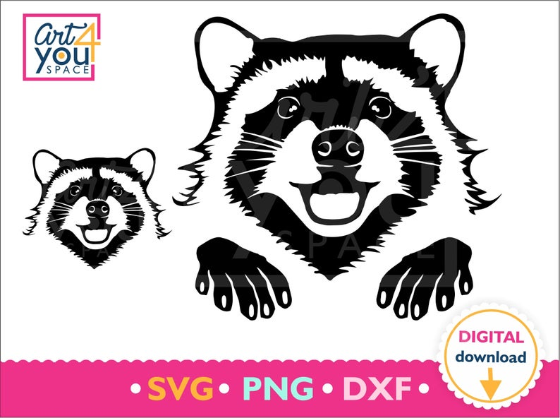 Raccoon svg smiling face. Racoon clipart animal head