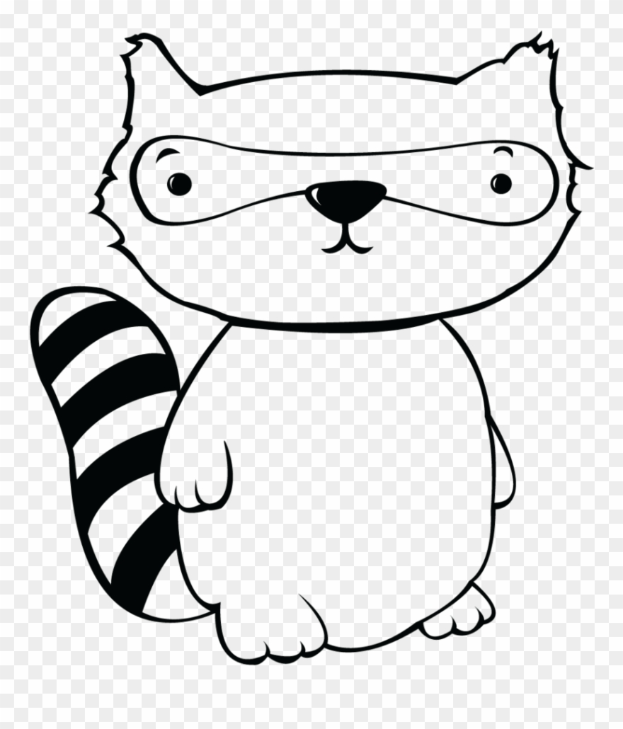 Cute raccoon . Racoon clipart black and white